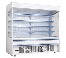 Low Noise Store Vegetable Multideck Open Chiller With Glass Door Easy Moving Wheel