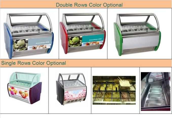 10 Pans Blue Hard Ice Cream Display Freezer Custom For Store / Mall