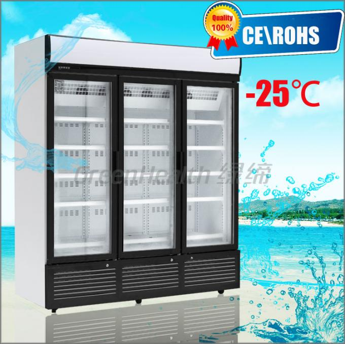 3 Doors Stainless Steel Glass Door Beverage Cooler Large Storage Facilities