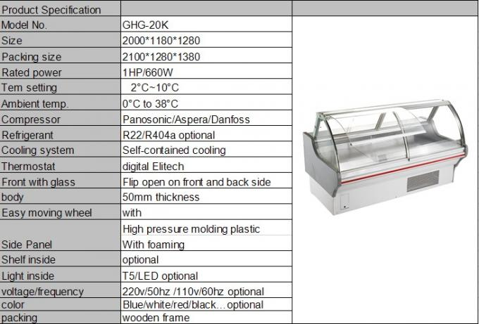 Deli Counter Display Panasonic Compressor , Deli Refrigeration Equipment For Food Grocery