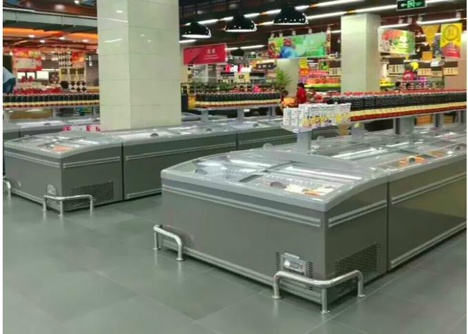 2.1M White Island Freezer Meat Counter Display Freezer for Supermarket