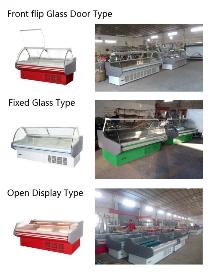 Butchery Shop Deli Display Refrigerator , Meat Display Fridge Showcase With Back Sliding Door