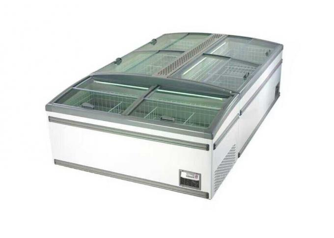 Low E Glass Door Chest Island Commercial Display Freezer For Fish 650w