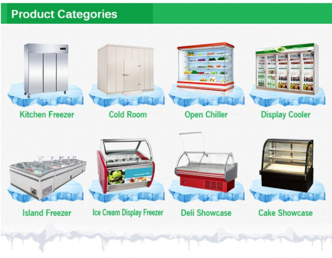 Remote commercial Open Front Meat showcase Butcher refrigeration Equipment seafood display counter