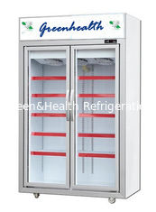 China Movable 2 Glass Door Beverage Showcase With Heating Fuse Defrost System supplier