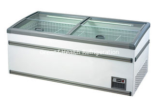 White Commercial Deep Supermarket Island Freezer , Seafood Sliding Door Freezer