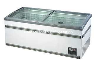 China White Commercial Deep Supermarket Island Freezer , Seafood Sliding Door Freezer supplier