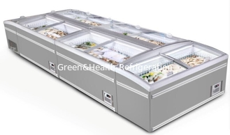 China Large Supermarket Island Freezer With Sliding Door -22 ~ -18℃ Combined Direct Cooling supplier