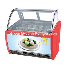 China Low Noise 10 Pans Gelato Ice Cream Display Fridge With Stainless Steel Material supplier