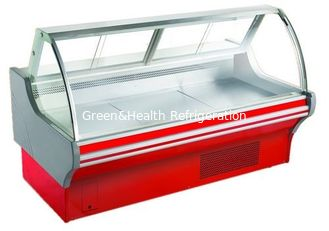 China Curved Glass Deli Display Counter Refrigerator For Supermarket With Optional Rear supplier