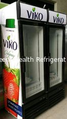 China Commercial Vertical Double Door Beverage Display Refrigerator With Wheel supplier