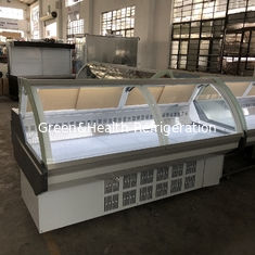 China 1152W 380V 50HZ Cheese Meat Display Cooler  With Front Flip Glass Cover supplier