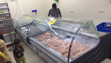 China Butchery Shop Deli Display Refrigerator , Meat Display Fridge Showcase With Back Sliding Door supplier