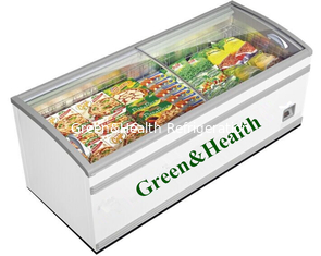 China Supermarket Deep Island Freezer For Frozen Food With Heat - Reflecting Glass supplier