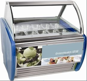 China 10 Pans Blue Hard Ice Cream Display Freezer Custom For Store / Mall supplier