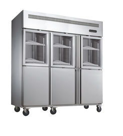 China Deep Commercial Upright Freezer 1600L 6 Glass Doors With Plastic Coated Steel Shelf supplier
