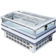 China Auto Defrost Supermarket Island Refrigerator With Glass Covers supplier