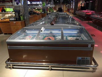 China 1000L Commercial Curved Glass Top Island Display Freezer For Supermarket supplier