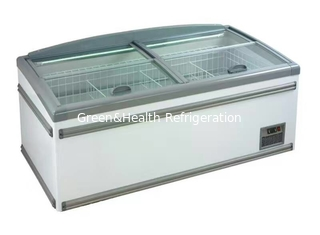 China High Efficiency Static Cooling Supermarket Island Freezer For Meat Seafood supplier