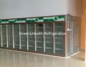 China Refrigeration Back Load Display Fridge Freezer With Glass Doors Panel Thickness 75mm supplier