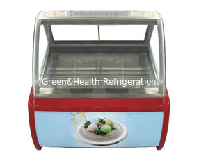 China Hard Ice Cream Display Freezer Popsicle Bucket Pans Showcase Gelato Color Steel supplier