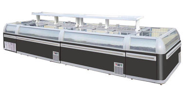 China Sliding Door Glass Top Island AHT Commercial Freezer For Supermarket Black Auto Defrost supplier
