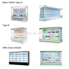 R404a Refrigerant Multideck Open Chiller Stable Performance Long Life Span