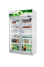 China CE Commercial Beverage Cooler Two Glass Door Refrigerator Freezer Display Showcase supplier
