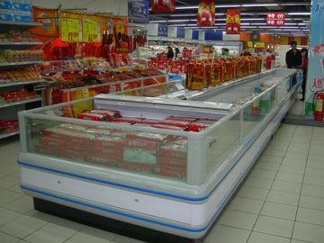 China Refrigeration Condensing Unit Island Display Freezer With Night Curtain supplier