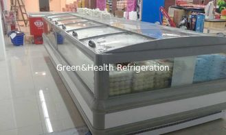 China Gray R404a Supermarket  Island Freezer Cabinet With Curve Glass Sliding Open supplier