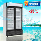 2 Glass Hinge Door Vertical Freezer , Sliding Glass Door Freezer
