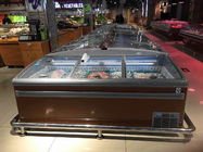 China 1000L Commercial Curved Glass Top Island Display Freezer For Supermarket factory