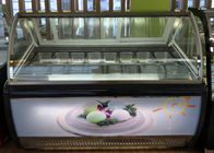 Digital Temperature Control Ice Cream Display Freezer Front With Lamp Box