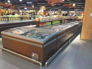 Large Sliding Door Supermarket Island Freezer , Glass Top Chest Freezer