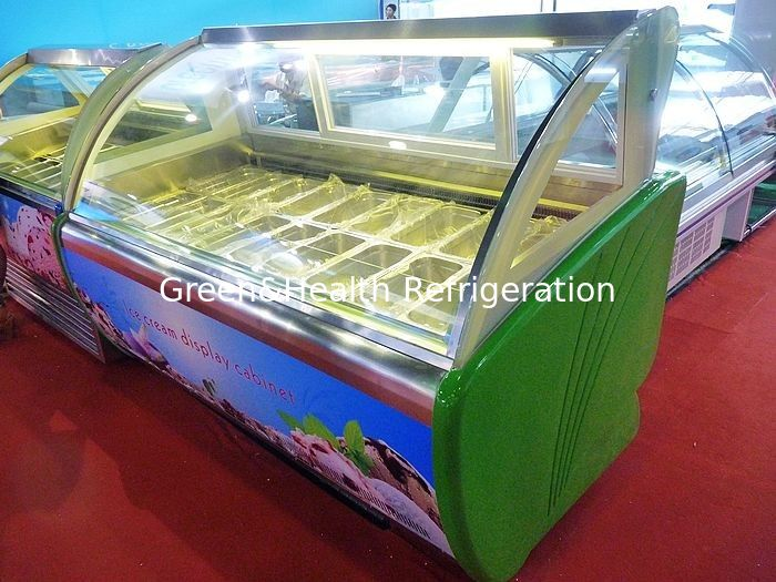 18 Trays R404a Green Commercial Ice Cream Display Freezer