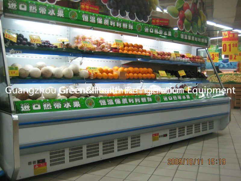 White Red Upright Open Chiller Supermarket Showcase With