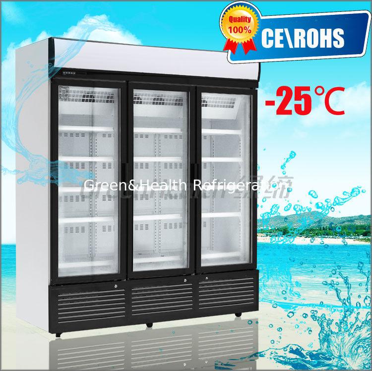 Glass Door Chiller R404a 3 Glass Door Freezer Automatic Defrost