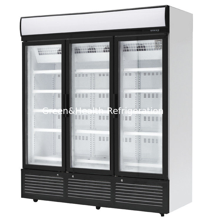 3 Doors Stainless Steel Glass Door Beverage Cooler Large Storage