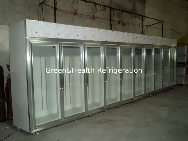 Solid Glass Door Freezer Triple Shelves With Heater Inside