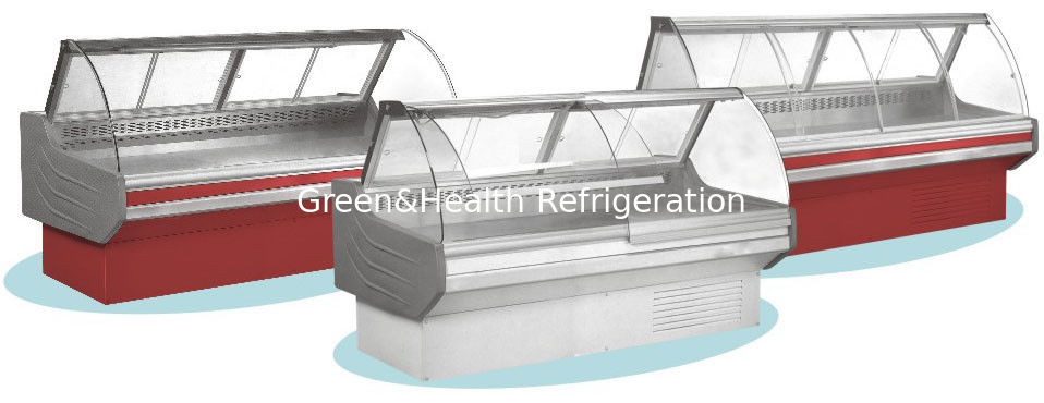 Open Front Deli Display Refrigerator Red Light For Butcher