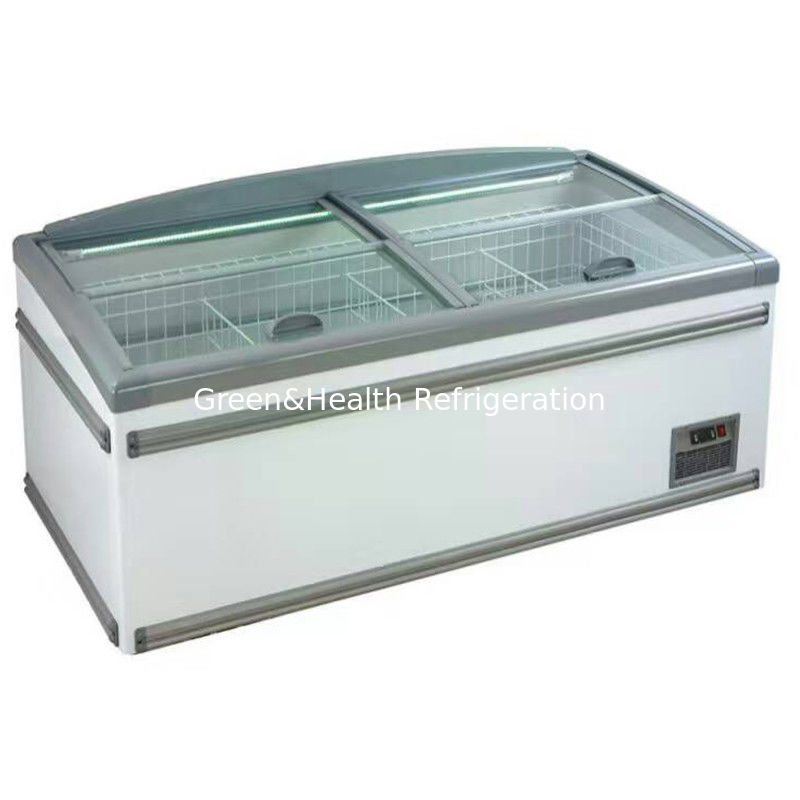 Eco Friendly Sliding Door Display Island Freezer For Supermarket / Canteens