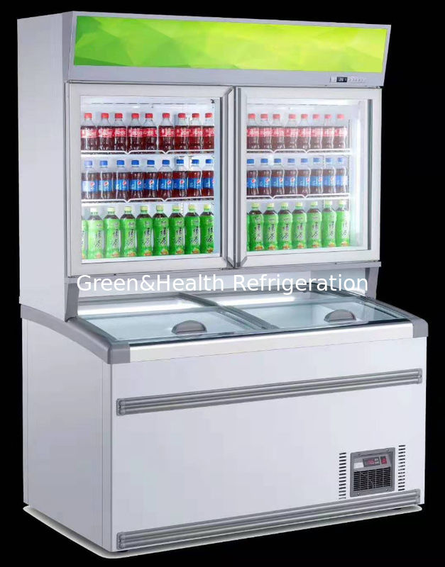 Combine Multideck Open Chiller Frozen For Ice Cream 2 Glasses Door Up And Dowm Layer