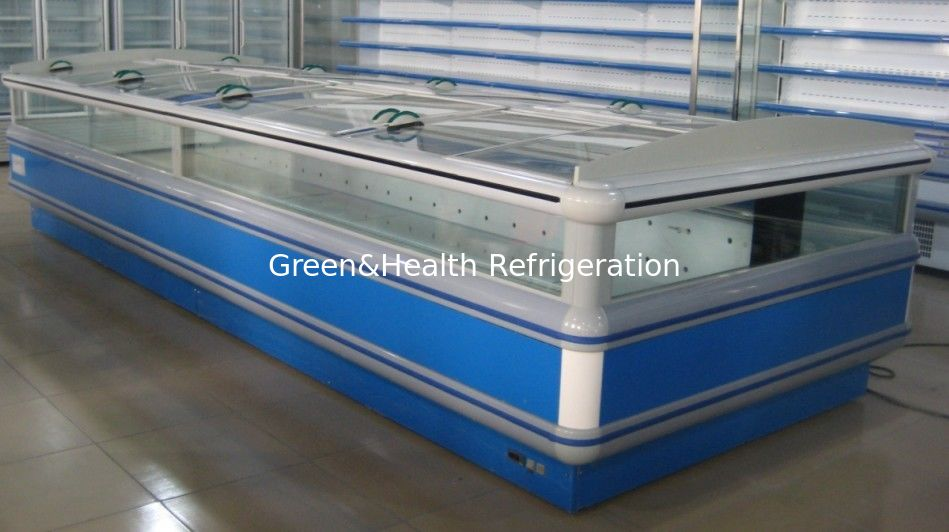 Auto Defrost Double Supermarket Island Freezer Digital