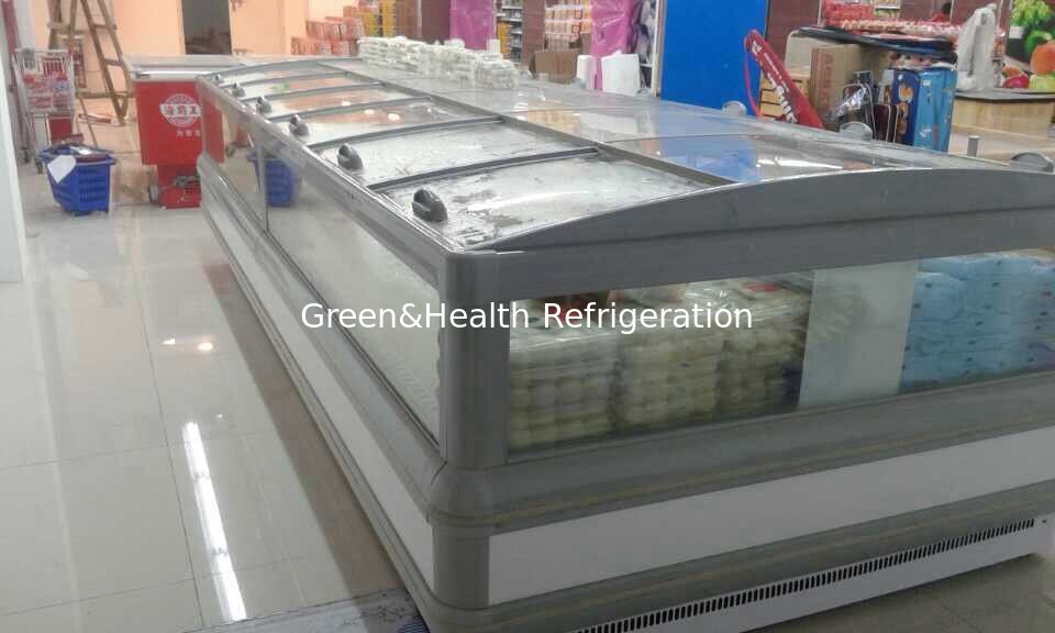 Gray R404a Supermarket Island Freezer Cabinet With Curve