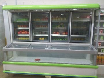 Supermarket Combination Freezer Cooler / Frozen Display Showcase For Hotel