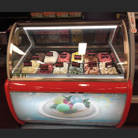 Commercial Gelato Hard Ice Cream Display Freezer Showcase With 16 Pans