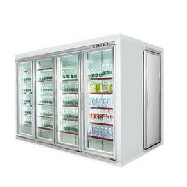 Commercial Beverage Cooler , Glass Door Display Cold Room For Beverage