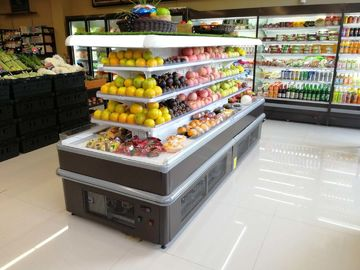 Square Island Open Display Refrigerator With Streaming Design / Multideck Display Fridge