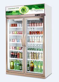 Commercial Vertical Double Door Beverage Display Refrigerator With Wheel