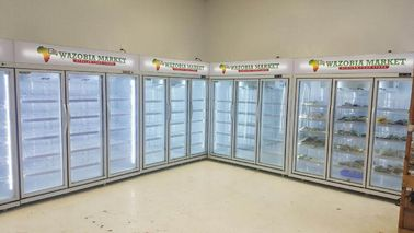 -18 ~ 22℃ Commercial Upright Glass Door Freezer For Meat Chicken / Ice Cream